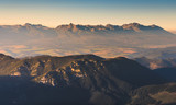 High Tatras Mountains at Sunset as Seen from Mount Dumbier in Low Tatras, Slovakia