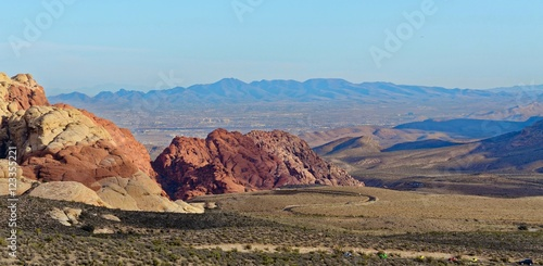 Las Vegas skyline from Red Rock Canyon Poster