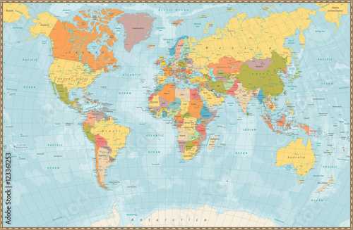 Fototapeta Large detailed vintage color political World Map with lakes and