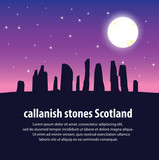Travel Callanish Standing Stones. Travel and Famous Landmarks and beautiful. . vector,illustration . White background.