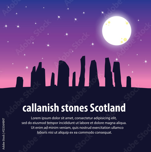 Staande foto Snoeien Travel Callanish Standing Stones. Travel and Famous Landmarks and beautiful. . vector,illustration . White background.