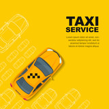 Taxi service concept. Vector yellow banner, poster or flyer background template. Taxi yellow cab and outline cars isolated on white background. Street traffic, parking, city transport illustration. - 123365496