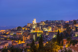 Town of Grasse after sunset