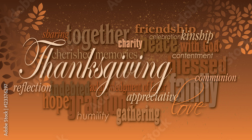 Thanksgiving holiday word montage with leaves