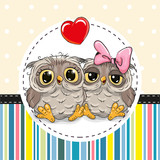 Two cute Cartoon Owls
