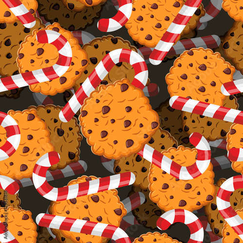 Cotton fabric Peppermint Christmas candy and cookies pattern. Sweet festive ba