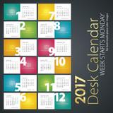 Desk calendar 2017 color background