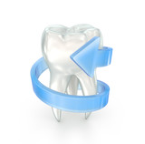 Tooth and spiral arrow, 3d illustration over white
