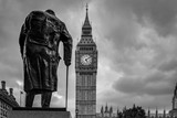 B&W Winston Churchill in parliament square and Big Ben
