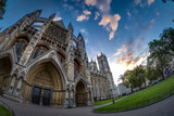 Wide angle view of Westminster Abbey at sunset