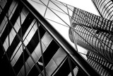 windows of business building in Hong Kong with B&W color  - 123405860