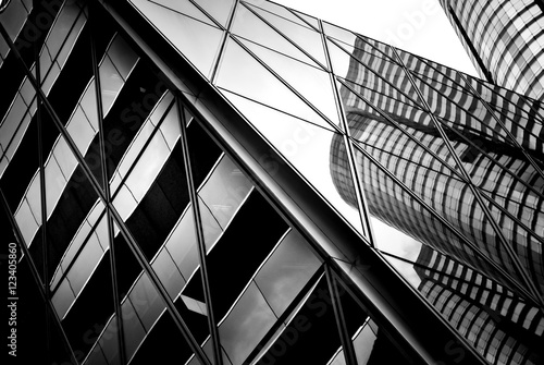 Obraz na płótnie windows of business building in Hong Kong with B&W color
