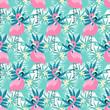 Tropical flamingo seamless - 123411045