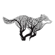 Wolf Run sylwetka podwójna mieszanka ekspozycji Drzewo rysunek tatuaż wektor