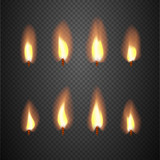 Fototapety Burning candle flame animation vector frames
