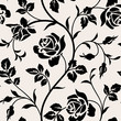 Vintage wallpaper with blooming roses and leaves.Floralm seamless pattern. Decorative branch of flowers. Black silhouette on white background