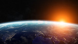 Sunrise over planet Earth in space 3D rendering elements of this - Fine Art prints