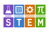 STEM - science, technology, engineering and mathematics flat color vector illustration with words - 123419079