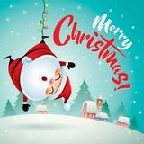 Merry Christmas! Santa Claus in Christmas snow scene.