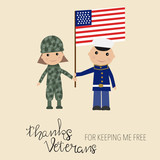 Happy USA veteran day background hand lettering kids in military