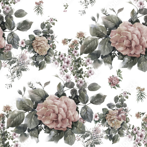 Watercolor painting of leaf and flowers, seamless pattern on white background - 123446458