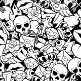 Seamless pattern with retro tattoo symbols. Cartoon old school illustration