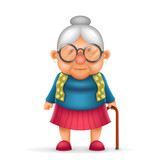 Granny Old Lady 3d Realistic Cartoon Character Design Isolated Vector Illustrator
