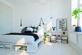 modernes, skandinavisches Schlafzimmer - modern swedish scandinavian style bedroom - 123449638