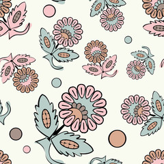 Ethnic boho seamless pattern with decorative flowers. Russian. Print. Cloth design, wallpaper.