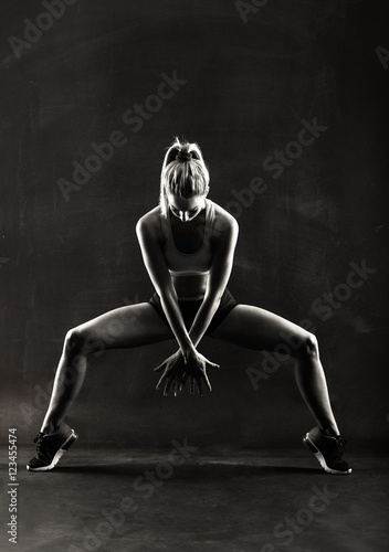 Fitness female woman with muscular body, workout - 123455474