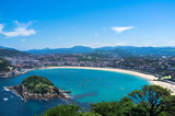 Fototapety Panoramic view on La Concha San Sebastian - Spain, The Basque Country
