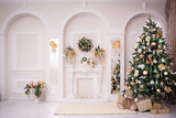 Fototapety Majestic white hall with classical fireplace, arches and mirrors. At the wall Christmas wreath. New Year tree stands in the corner of room.