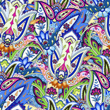 India seamless paisley pattern. Floral ornament, for fabric, textile