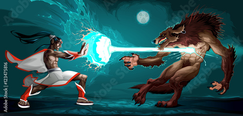 Foto op Canvas Kinderkamer Fighting scene between elf and werewolf