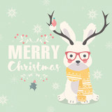 Merry Christmas postcard, hipster polar rabbit wearing glasses a