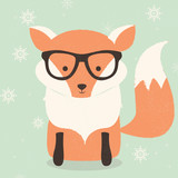 Merry Christmas postcard with cute hipster orange fox wearing gl