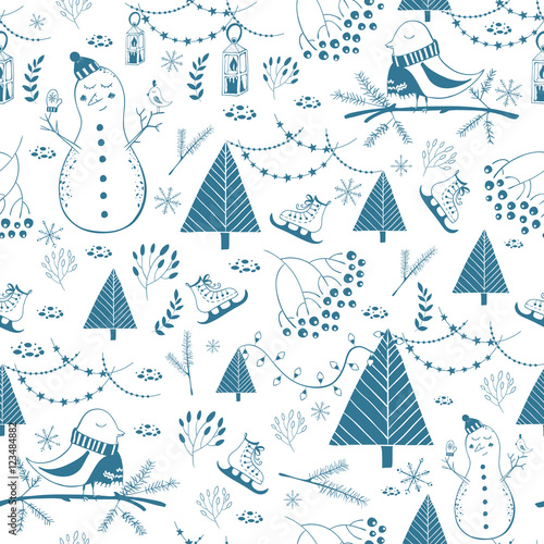 Materiał do szycia Vector winter seamless pattern. Cute hand drawn snowmen and birds. Perfect for greeting cards, postcards, banners, wallpapers, wrapping paper , silhouette. Design set for winter holidays decoration.