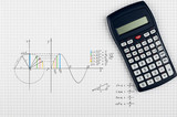 Maths background - calculator and sine-function - 123485032