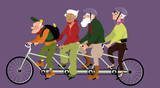 Group of active seniors riding a tandem bike, EPS 8 vector illustration, no transparencies