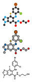Selumetinib cancer drug molecule (MEK1 and MEK2 inhibitor).