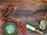Singing Bowl, copper drums cymbals, Rudraksha beads for meditati