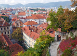 Fototapety View of the old town center of Graz from the staircase of Schlossberg Hill. Graz, Austria.