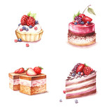 Set of different varieties of cakes. Hand draw watercolor illustration. - 123503060