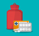 Medicine and bag icon. Medical health care and hospital theme. Colorful design. Vector illustration
