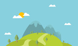 Mountain and hill beautiful landscape vector