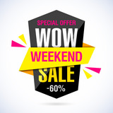 Wow Weekend Sale banner. Special offer, 60% off.