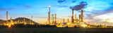 Twilight of oil refinery plant.Panorama.   - 123513662