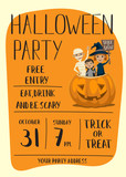 Halloween party poster with place for text. Kids in carnival costumes mummy, vampire and witch sitting in pumpkin with sign - Trick or Treat. Night party invitation, cartoon vector illustration