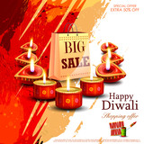 Happy Diwali shopping sale offer with decorated diya