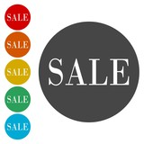 Round sale sticker on white background, Sale button
